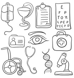 Doodle of various medical object vector