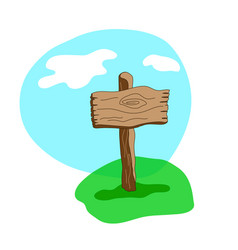 Square cartoon wooden sign in grass vector