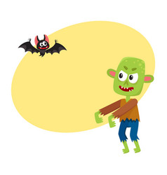 halloween monsters - green zombie and vampire bat vector image