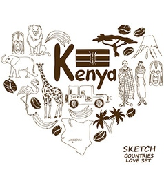 Kenyan symbols in heart shape concept vector