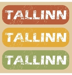 Vintage tallinn stamp set vector