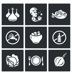 Lent celebration of orthodox believers icons set vector