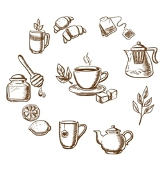Herbal tea dessert and bakery sketch icons vector