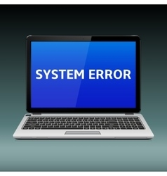 Laptop with system error message on blue screen vector