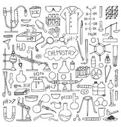 Chemistry doodle set vector