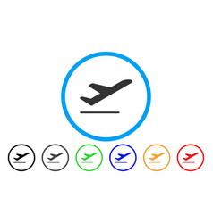 airplane departure rounded icon vector image vector image