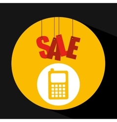 Basket shopping sale mobile phone graphic vector