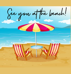 Beach scene with phrase see you at the beach vector