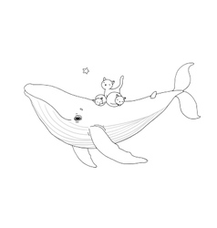 Big beautiful pink whale and three cute little vector image