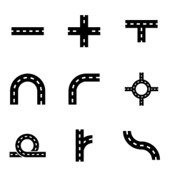 black road elements icon set vector image vector image