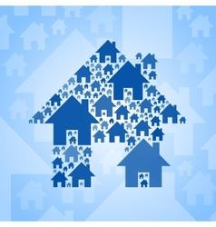 Blue home symbol on light blue background vector