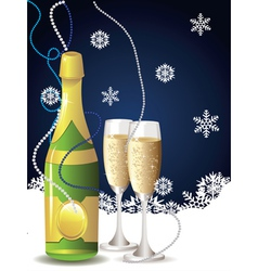 Card with champagne2 vector