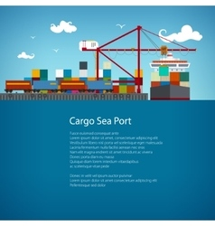 Cargo sea port flyer design vector