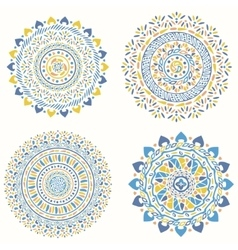 Collection of geometric round decorative elements vector