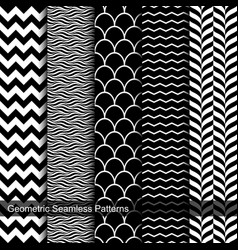 Collection of geometric seamless patterns vector