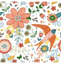 Colorful seamless pattern with birds and blooming vector