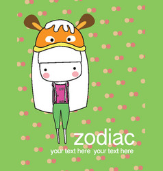 cute baby girl set zodiac - symbols of chinese hor vector image vector image