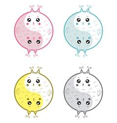 Cute owls yin yang vector image