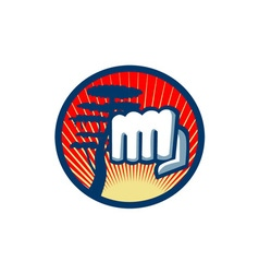 Fist punching cypress tree circle retro vector