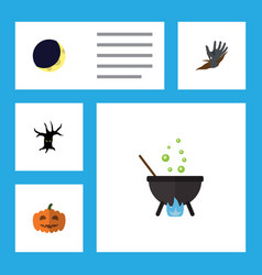 flat icon festival set of crescent gourd magic vector image