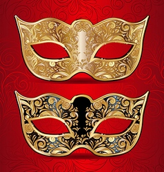 Gold and black masks for masquerade vector