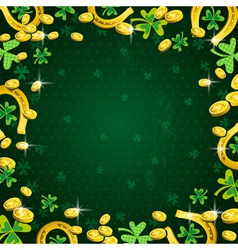 Green background for patricks day with clover vector