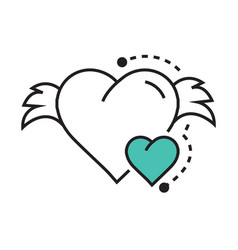 icon hearts wings blue vector image