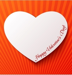 Paper heart over red background vector image vector image