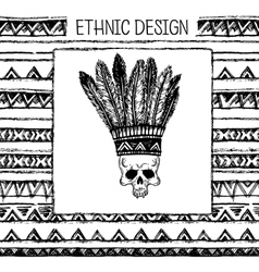 Pattern with indian headdress Black and white vector image
