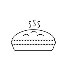 pie with meat line icon sign vector image vector image