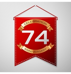 Red pennant with inscription seventy four years vector