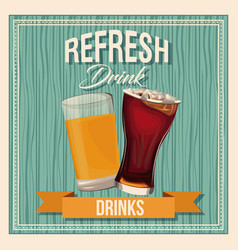 Refresh drinks beer glass soda liquid vintage vector