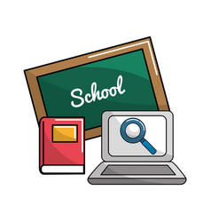 School board with books and laptop icon vector