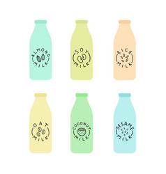 Set of bottles with plant based milk vector