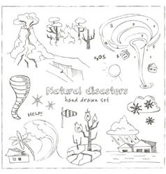 Set of doodle sketch Natural disasters vector image
