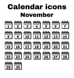 The calendar icon November symbol Flat vector image