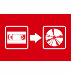 vhs to cd transfer symbol vector image vector image