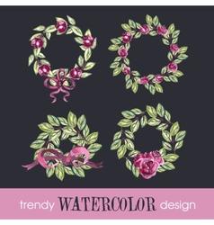 Watercolor Set of Four Rose WreathsTrendy Design vector image