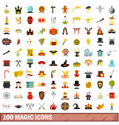 100 magic icons set flat style vector image