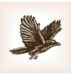 Flying crow sketch vector image