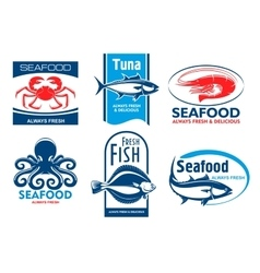 Seafood restaurant and product icons vector