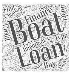 Financing a boat word cloud concept vector