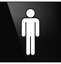 White sign man stands in flat style vector