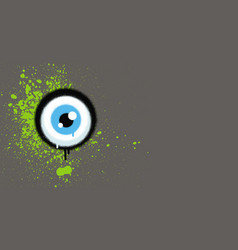 Graffiti eyeball with green paint grunge on gray vector