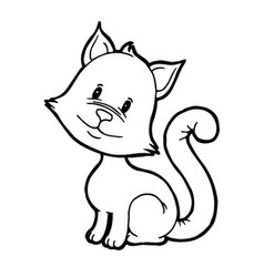 Cute kitten tilted his head vector