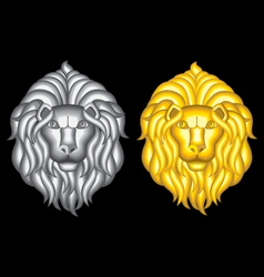 Silver and gold lion heads vector image