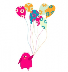bird with balloons vector image