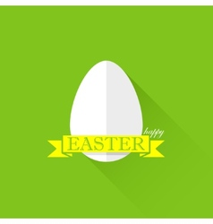 Easter with egg and yellow ribbon happy easter vector