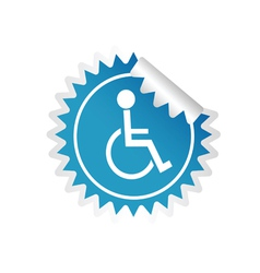 Sticker paralyzed man icon vector