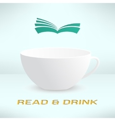 Cup with book in realistic design boooks vector